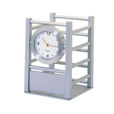 Metal Desk Clock & Pen Holder