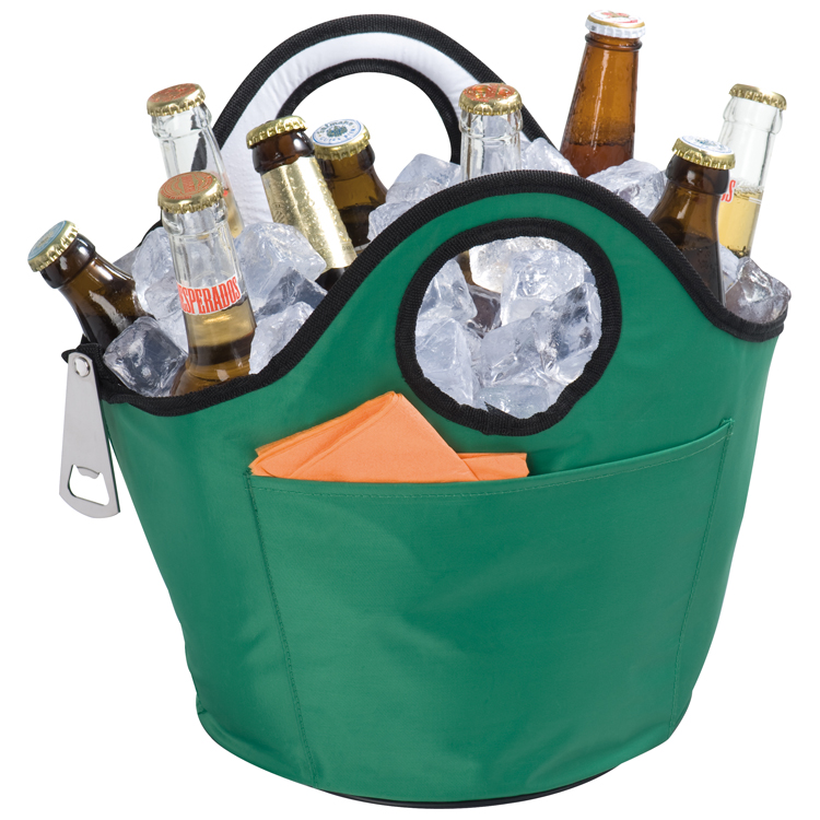 Round cooler bag with bottle opener