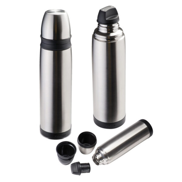 Double-walled thermal flask with two cups