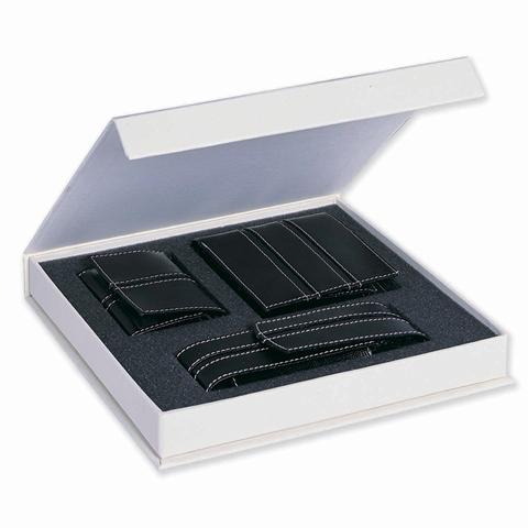Leather Wallet & Keyring & Pen Case Set