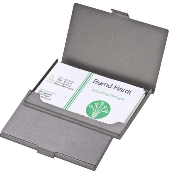 Business card holder made of metal