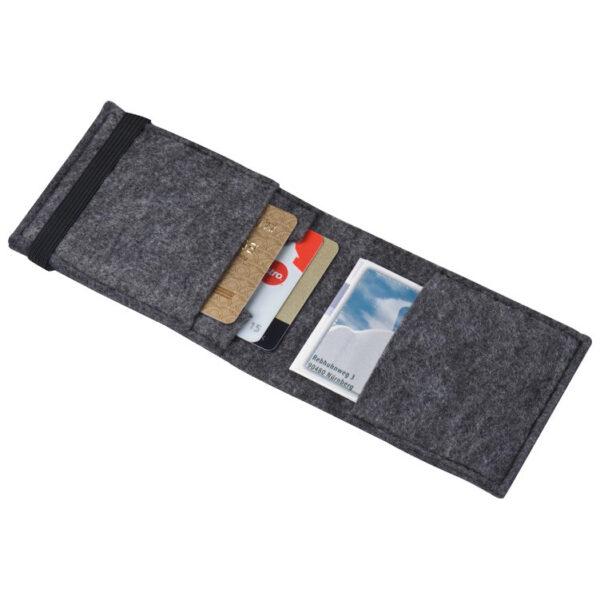 Felt credit card case with elastic strap closure