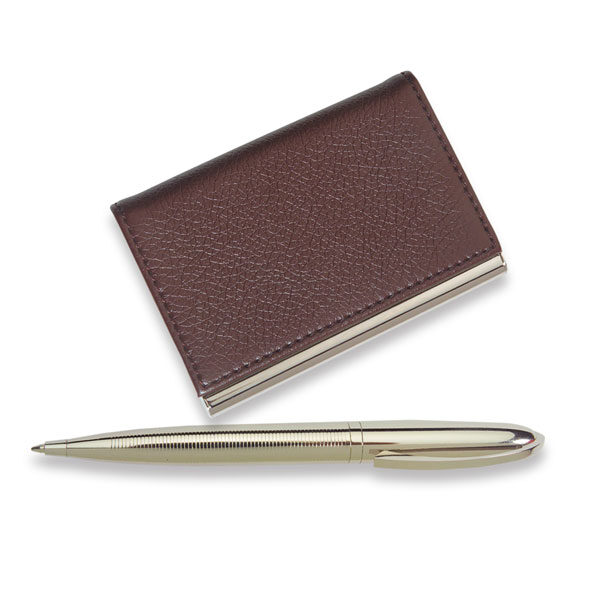 Leather Business Card Holder & Pen Set