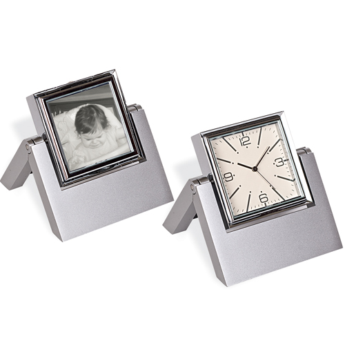 Metal Table Clock & Photo Frame