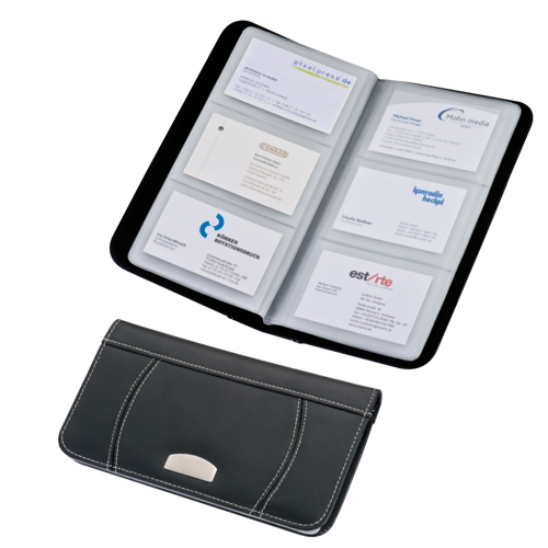 Zippered Synthetic Leather Business Card Holder