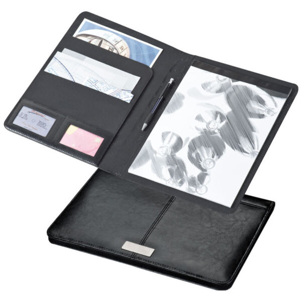 CrisMa bonded leather A4 writing case with metal plate, black