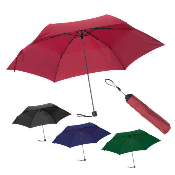 Mini umbrella with protective cover and rubber grip.