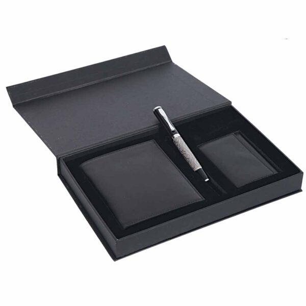 Leather Wallet & Keyring & Pen Set